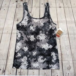 Reebok Black Grey White Geometric Print Tank
